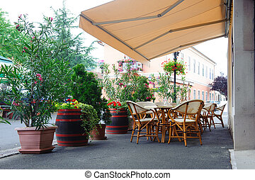 Street cafe under canopy. Red flowers in octaves and wood...