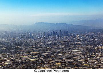 aerial of Los Angeles in fog