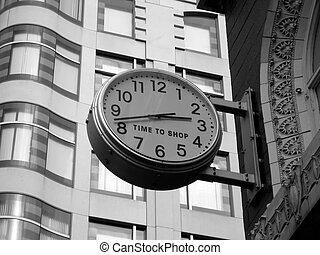 """Time to Shop - Black and white detail of a \\\""""Time to..."""