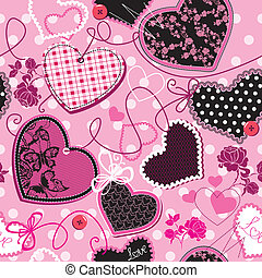 Pink and black Hearts, seamless - Pink and black Hearts on a...