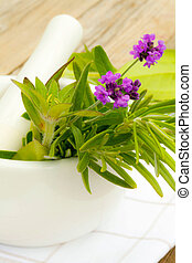 close-ups of lavender with mortar and pestle