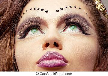 face close-up - adorable woman face studio close up shot