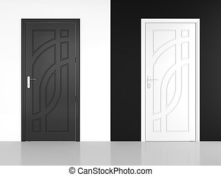 Black and white door - 3D render of black and white door -...
