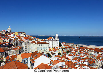 Alfama, Lisbon, Portugal - With its narrow streets and steep...