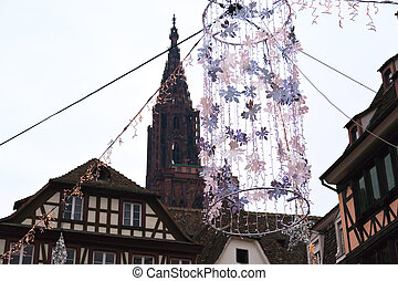 Christmas ornament in medieval town