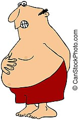 Man with a stomach ache - A man in shorts with one hand...