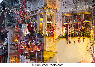 houses with christmas decoration at night - urban houses...