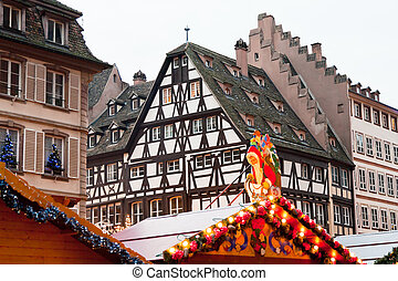 Christmas market in medieval town - Christmas market in...