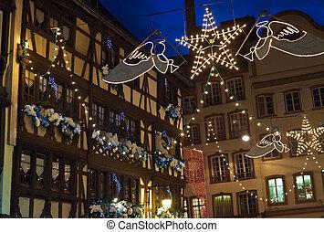 eléctrico, navidad, guirnaldas, pueblo