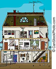 Old House Cross Section - 3-story old house cartoon cross...