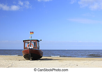 Fishing boat on the beach of the island of Usedom, Baltic...