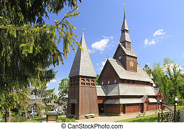 nordic wood church in Hahnenklee-Bockswiese near Goslar,...