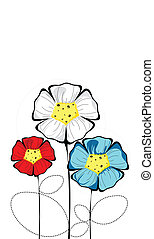 Three isolated colorful bloomed flowers - There are three...