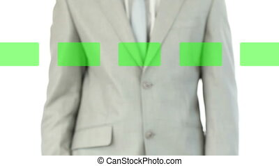 Man selecting videos in chroma key - Animation of a man...