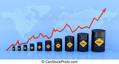 Oil chart - 3D illustration of growing oil chart with World...