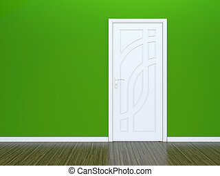 White door and green wall - 3D render of white door in green...
