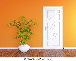 White door and orange wall - 3D render of white door in...