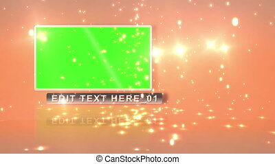 Screens with chroma key and text