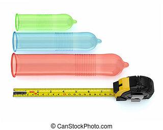 pene, tamaño, Condones, diferente, tamaños,...