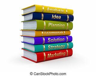 Business training. Economic books on white background