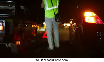 Night Car Accident - Investigation of the causes of auto...