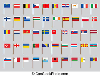 European flags - set of European flags on flagstaff vector...