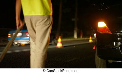 Night Auto Accident - Investigation of the causes of auto...