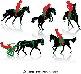 Silhouettes of horses - Silhouettes of equestrians on horses...