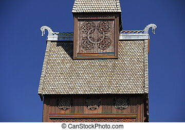 nordic wood church - detail of the nordic wood church in...