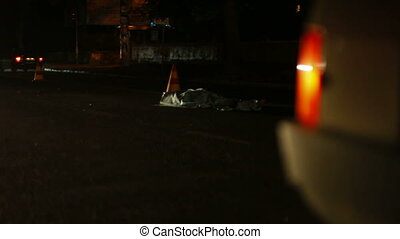Victim in a Road Accident - Dead body of a pedestrian on the...
