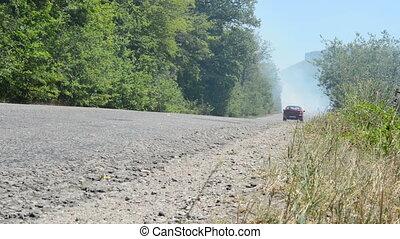 Mountain road is through the smoke