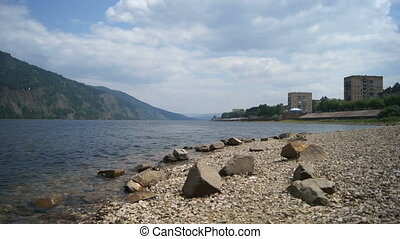 River Yenisei Town Divnogorsk - The view from the right bank...