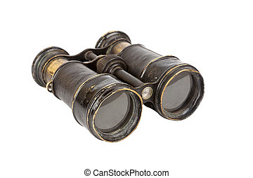 Vintage binoculars isolated on white background