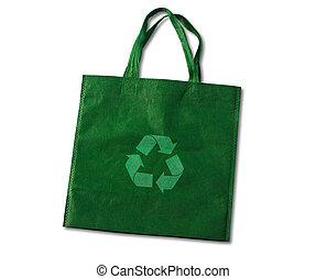 Green, reusable shopping bag