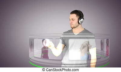 Futuristic video of a man choosing - Animation of a...