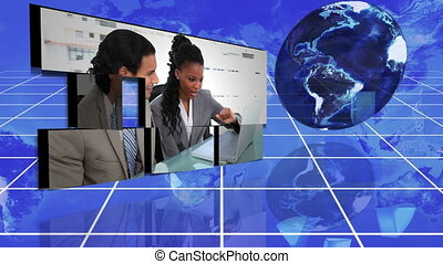 Business colleagues working togethe - Animation of business...