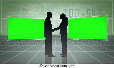 Silhouettes of people shaking hands