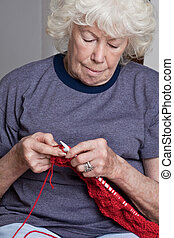 Senior Woman Knitting