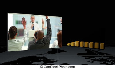Videos of business next to statistic animation against black...