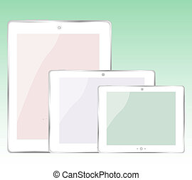 tablet pc set on green background