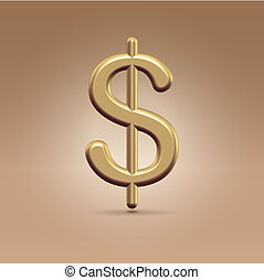Golden dollar - Glossy golden dollar sign hanging in the...