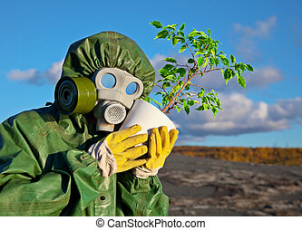 Biologists and genetically modified plant - The biologists...