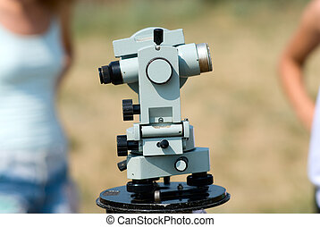 Theodolite against people