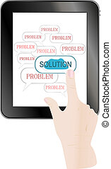 business hand pushing on solution innovation button