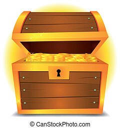 Treasure Chest - Illustration of a cartoon treasure chest...