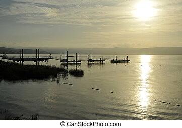 sunset lake tiberias or galilee