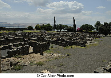 Synagogue ruins - the ruins of capernaum or  capharnaum