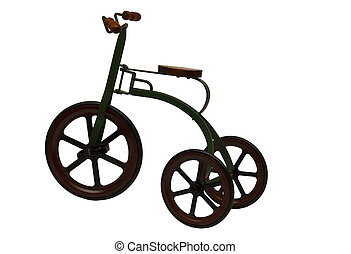 vintage tricycle - vintage childs tricycle isolated on a...