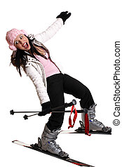 Fun ski trip - Female skier having fun on skis