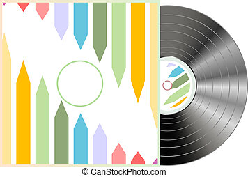 Vinyl and grunge cover isolated on white background